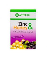 APTEEKKI Zinc & Honey Mustaherukanmakuinen 30 tabl